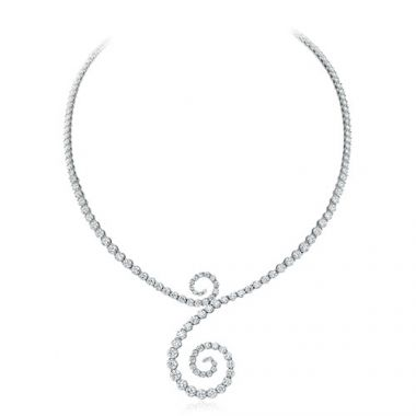 Gumuchian Cascade Riviera 18k White Gold Diamond Symphony Necklace