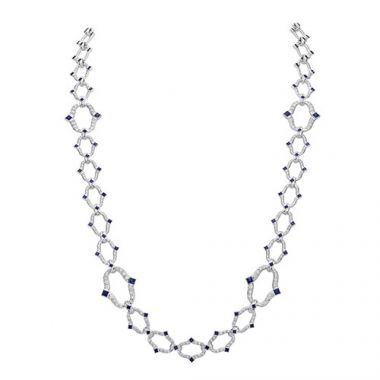 Gumuchian Secret Garden 18k White Gold Diamond Sapphire Necklace