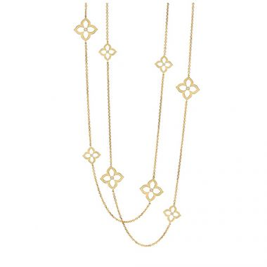 Gumuchian 18k Yellow Gold 0.36ct Diamond Lotus Necklace