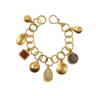 Gurhan Antiquities 24k Yellow Gold Charm Gemstone Bracelet - One of a Kind