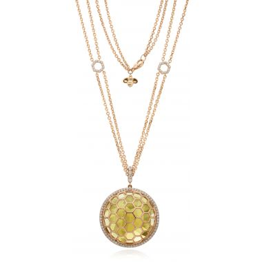 "Gumuchian 18k Yellow Gold Honeybee ""B"" Diamond & Faceted Citrine Honeycomb Circular Medallion"