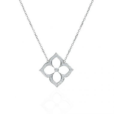 Gumuchian 18k White Gold 0.28ct Diamond Lotus Pendant