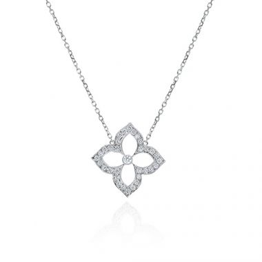 Gumuchian 18k White Gold 0.24ct Diamond Lotus Pendant
