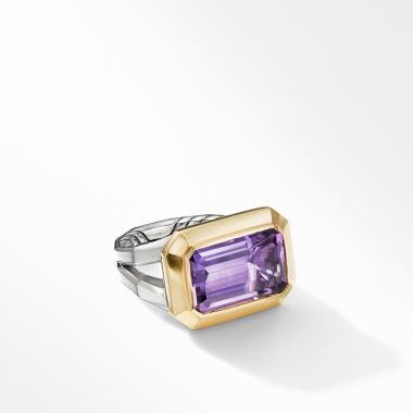 David Yurman Novella Statement Ring with Amethyst and 18K Yellow Gold
