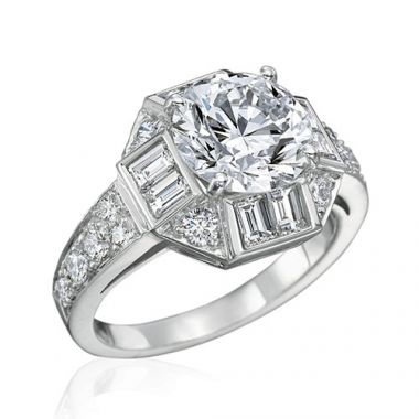 Gumuchian Bridal 18k White Gold Marina Diamond Semi-Mount Engagement Ring