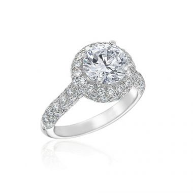 Gumuchian Bridal 18k White Gold Halo Diamond Semi-Mount Engagement Ring