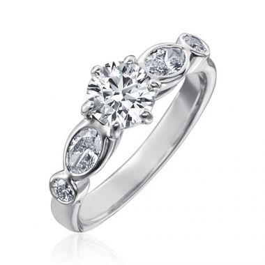 Gumuchian Marbella 18k White Gold Diamond Semi-Mount Engagement Ring