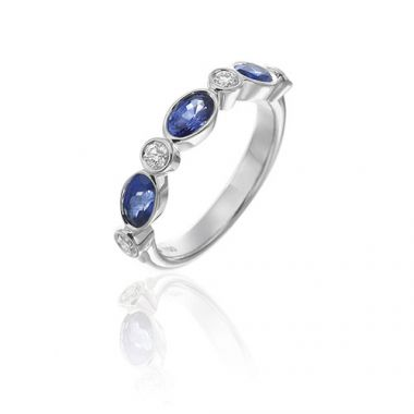 Gumuchian Marbella 18k White Gold Diamond Sapphire Stackable Band