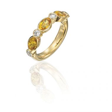 Gumuchian Marbella 18k Yellow Gold Diamond Sapphire Stackable Band