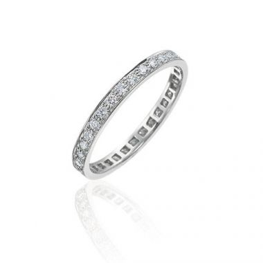 Gumuchian Bridal 18k White Gold Cinderella Eternity Diamond Wedding Band