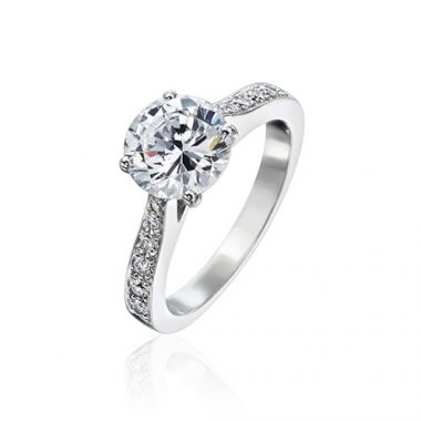 Gumuchian Bridal 18k White Gold Cinderella Diamond Semi-Mount Engagement Ring