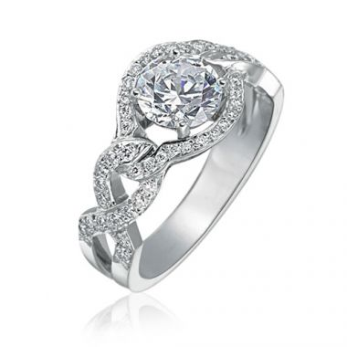 Gumuchian Bridal 18k White Gold Diamond Semi-Mount Engagement Ring