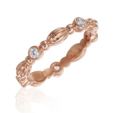 Gumuchian 18k Rose Gold Nutmeg Five Diamond Stackable Band