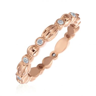 Gumuchian 18k Rose Gold Nutmeg Ten Diamond Stackable Band