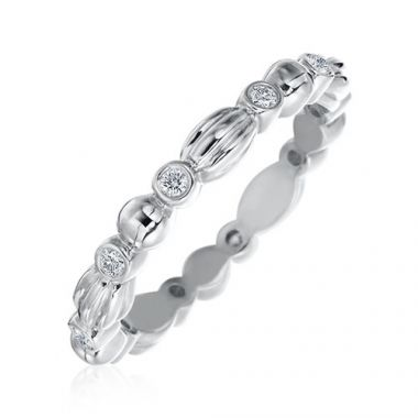 Gumuchian Nutmeg 18k White Gold Diamond Stackable Band