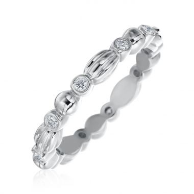 Gumuchian 18k White Gold Nutmeg Ten Diamond Stackable Band