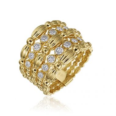 Gumuchian 18k Yellow Gold Diamond 5 Row Nutmeg Ring
