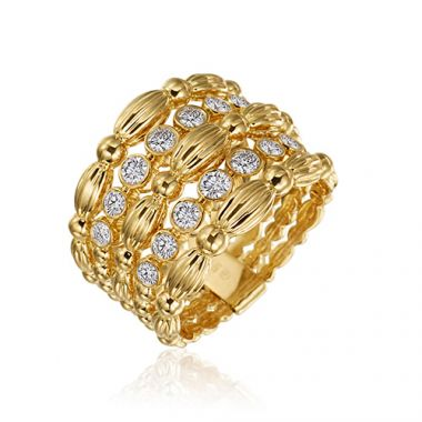 Gumuchian 18k Yellow Gold 0.50ct Diamond 5 Row Ring