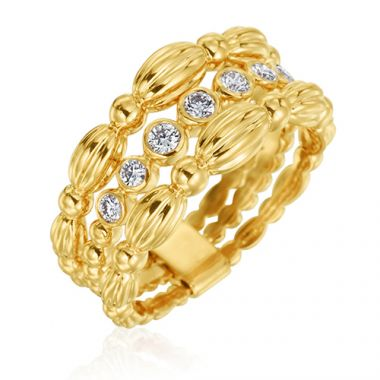 Gumuchian 18k Yellow Gold 0.25ct Diamond 3 Row Ring