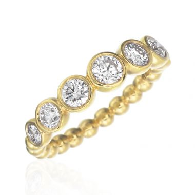 Gumuchian 18k Yellow Gold Nutmeg Seven Diamond Stackable Band