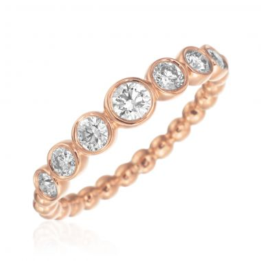 Gumuchian 18k Rose Gold Nutmeg Seven Diamond Stackable Band