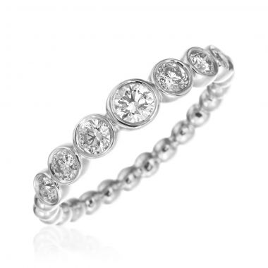 Gumuchian 18k White Gold Nutmeg Seven Diamond Stackable Band