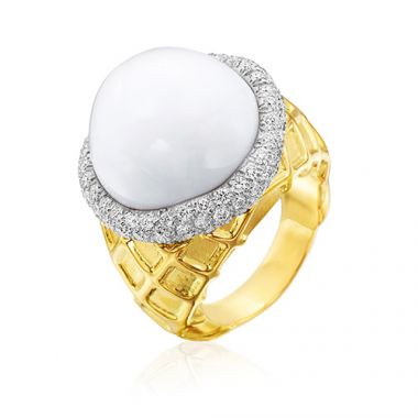 Gumuchian 18k Yellow White Gold Vanilla Ice Cream Cone Ring
