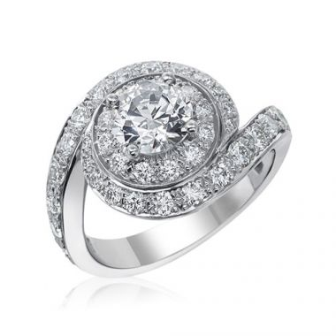 Gumuchian Bridal Platinum Swirl Diamond Semi-Mount Engagement Ring