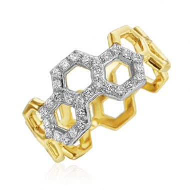 "Gumuchian Two Tone 18k Gold Honeybee ""B"" Ring"