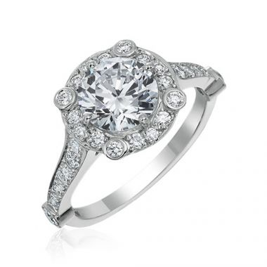 Gumuchian Carousel 18k White Gold Diamond Semi-Mount Engagement Ring