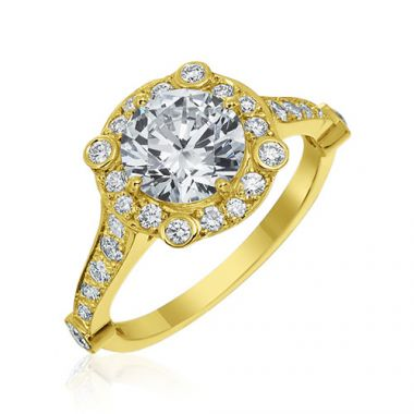 Gumuchian Carousel 18k Yellow Gold Diamond Semi-Mount Engagement Ring