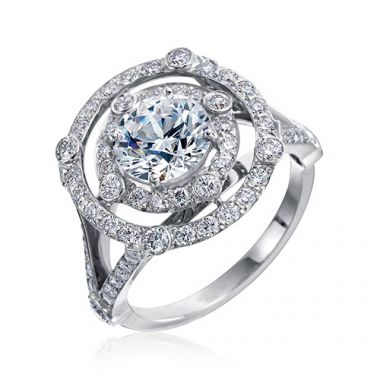 Gumuchian 18k White Gold Diamond Double Row Carousel Engagement Ring
