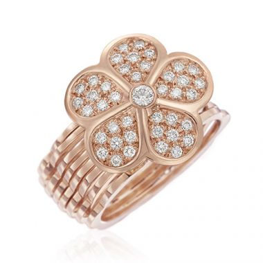 Gumuchian 18k Pink Gold Convertible Small Pave Diamond Daisy Ring