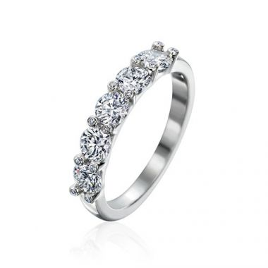 Gumuchian Twinset Platinum Five Stone Diamond Wedding Band