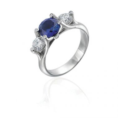 Gumuchian Twinset Platinum Grand Three Stone Diamond Sapphire Engagement Ring