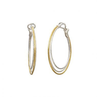 Gurhan Twist Two-Tone Sterling Silver Hoop Earrings