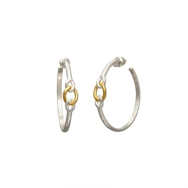 Gurhan Hoopla Two-Tone Sterling Silver Hoop Earrings