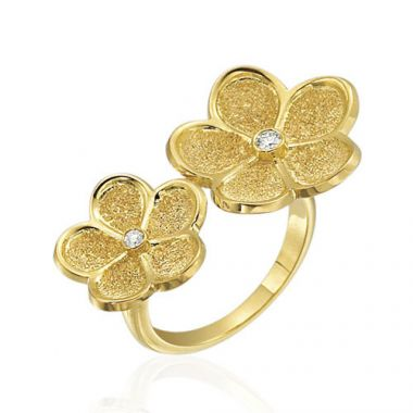 Gumuchian 18k Yellow Gold Diamond Floating Daisy Ring